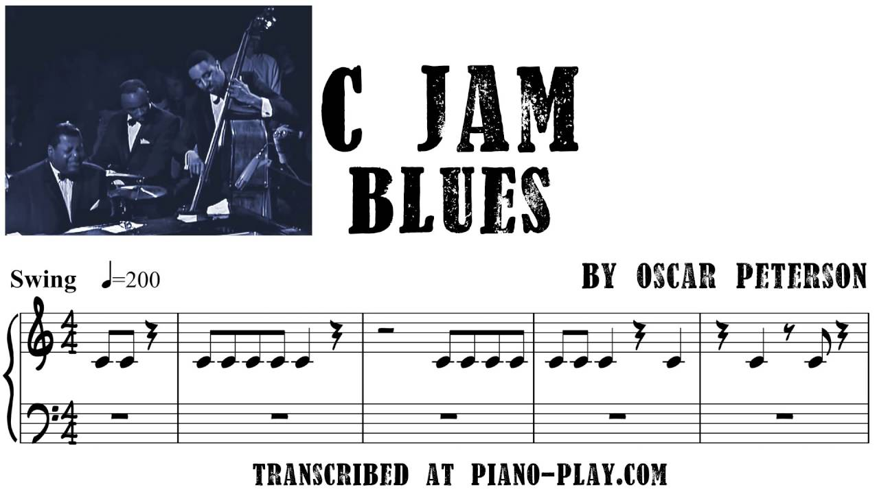 Oscar Peterson - C Jam Blues transcription in PDF, MIDI