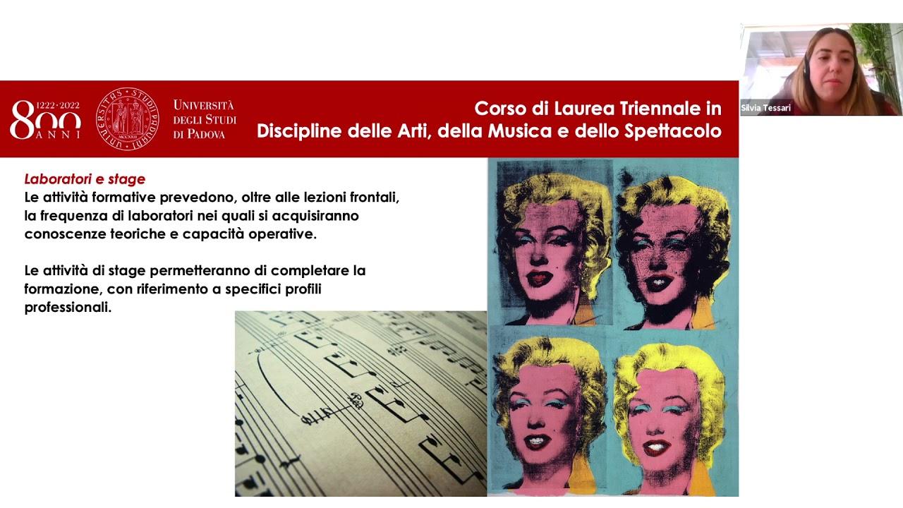 Presentazione del Corso di Laure Triennale in DAMS - Università degli Studi di Padova
