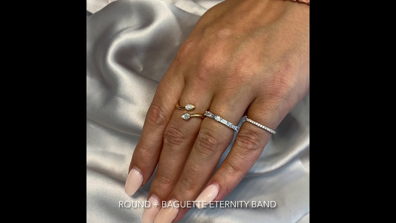 Alternating Round and Baguette Cut Diamond Eternity Band