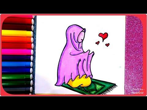 رسم بنت محجبة تصلي وتدعى ربنا رسم سهل جدا و بسيط تعليم الرسم