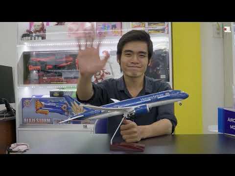 Trên tay mô hình Máy bay VietNam Airlines 47cm Boeing B787 có đèn LED - JOLAVN