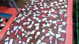 видео Мозаика на бетонных дорожках