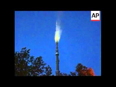 RUSSIA: MOSCOW: OSTANKINO TV TOWER FIRE: NIGHT SHOTS - YouTube