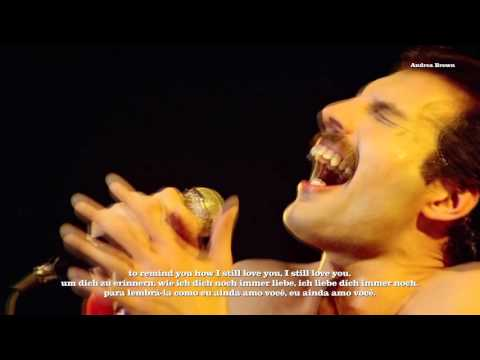 Queen sings live-  Love of my life with English/Deutsch/Português subtitles