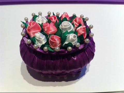 Смотреть онлайн ЧАСТЬ 1 Сувенир к 8 Марта /Бутоны роз Канзаши