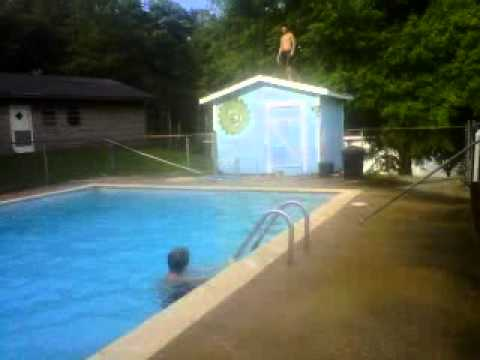 Chandler Front Flipping off the pool house!(: