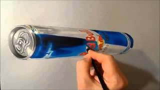 how to Draw  3D Levitating Red Bull Can