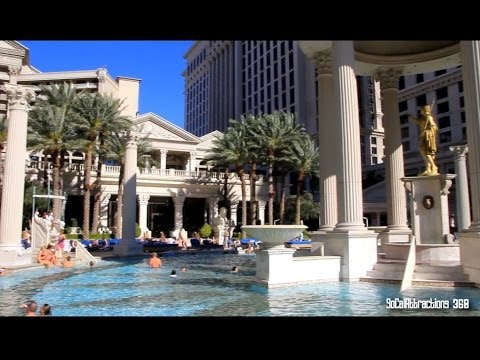 [HD] Tour of Caesars Palace Pools - Garden of the Gods Pool Oasis