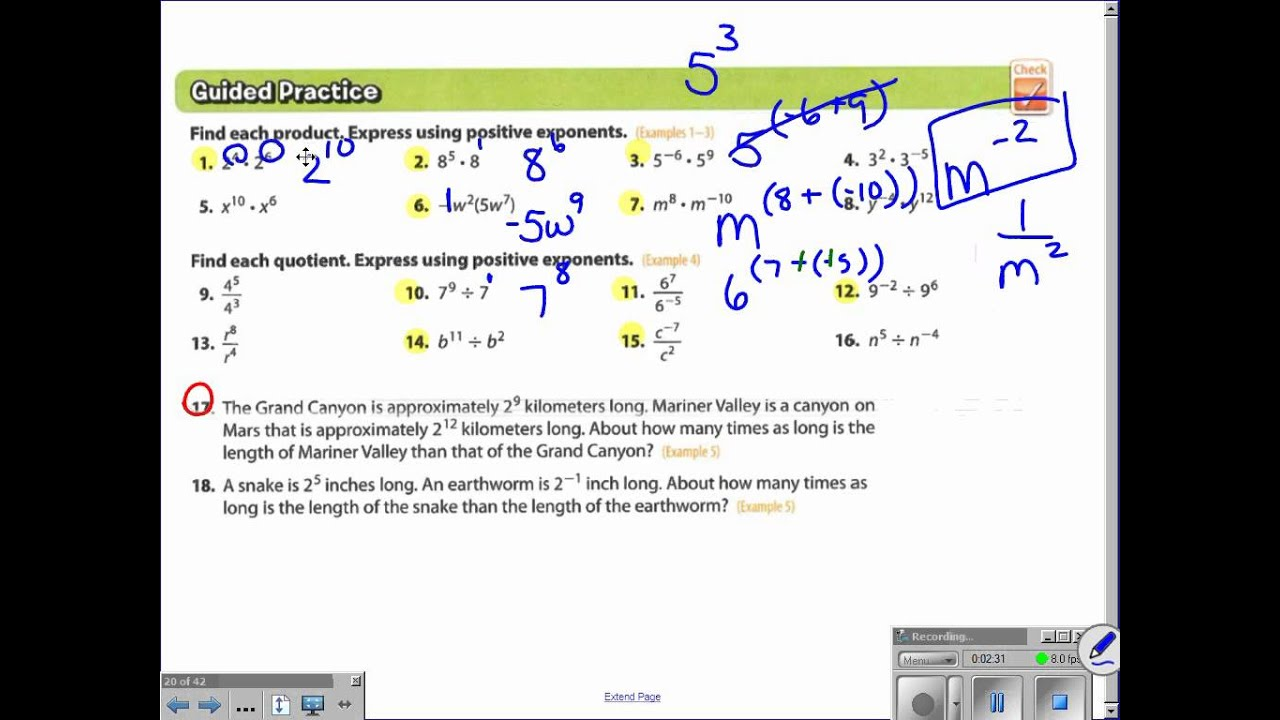 Pa Ch 4 Lesson 3 Multiplying And Dividing Monomials