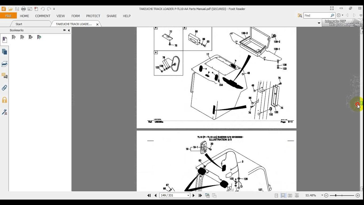 TAKEUCHI TRACK LOADER P TL10 AA Parts Manual - YouTube