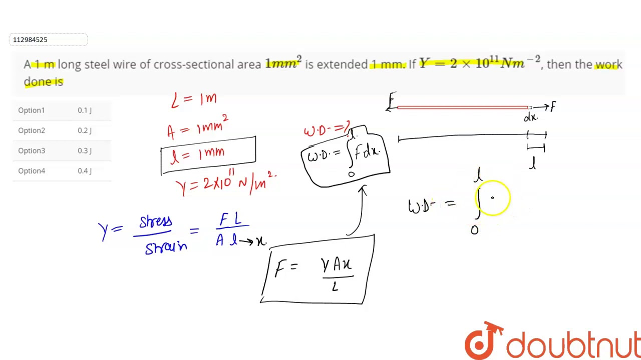 A 1 m long steel wire of cross-sectional area `1 mm^(2 ...