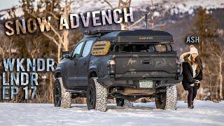 Couple goes SNOW CAMPING - WEEKENDERLANDER EP 17 - Tacoma Mini Overland Adventure