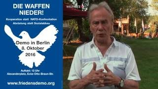 Aufruf zur bundesweiten Friedensdemonstration am 8. Oktober in Berlin