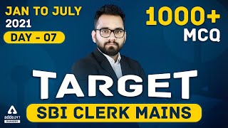 Target SBI Clerk 2021 Mains | General Awareness | 1000+ Questions | Day #7