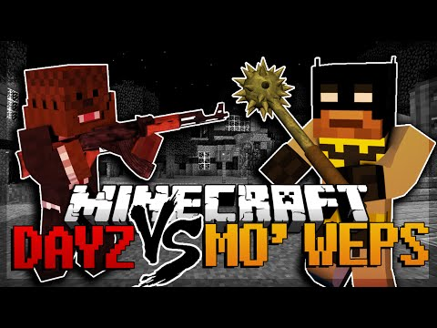 Minecraft DayZ Zombies Mod Vs More Weapons Mod (Mod Battles)
