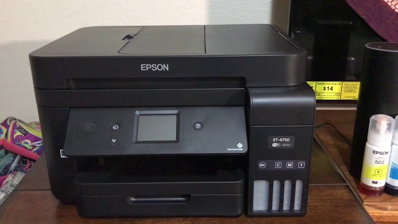 Epson WorkForce ET-4750 EcoTank All-in-One Supertank Printer |How to fill  ink|WIFI Setup
