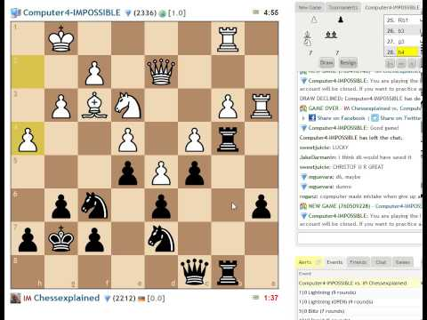 Blitz Match vs Computer4-Impossible on Chess com