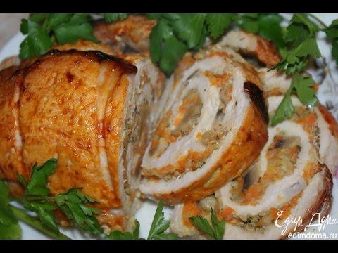 Свиные рулетики с грибами в духовке фото рецепт