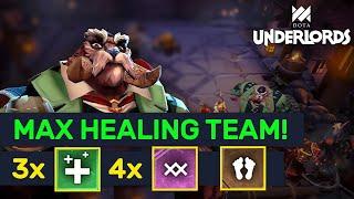 MAX HEALING TEAM! 3 Healers + 4 Warlocks Trolls!   Dota Underlords