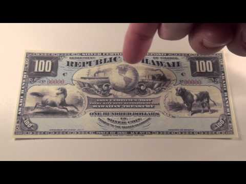 1895 $100 Republic of Hawaii Silver Certificate Note