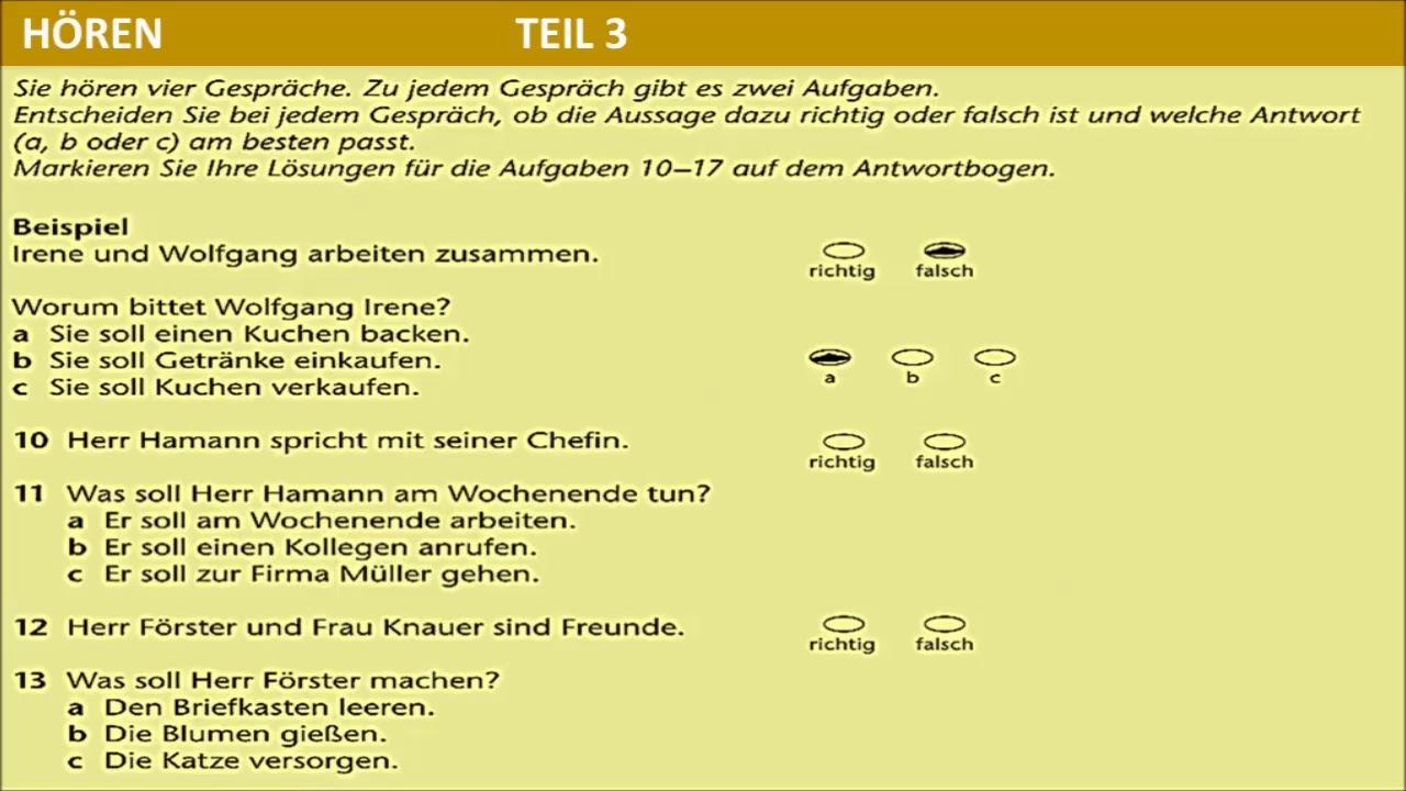 Hörverstehen Prüfung B1- B1 HÖREN TELC TEST - YouTube