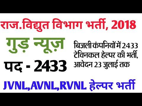 बिजली विभाग Technical Helper भर्ती 2018   electrical department JVVNL,AVVNL  job