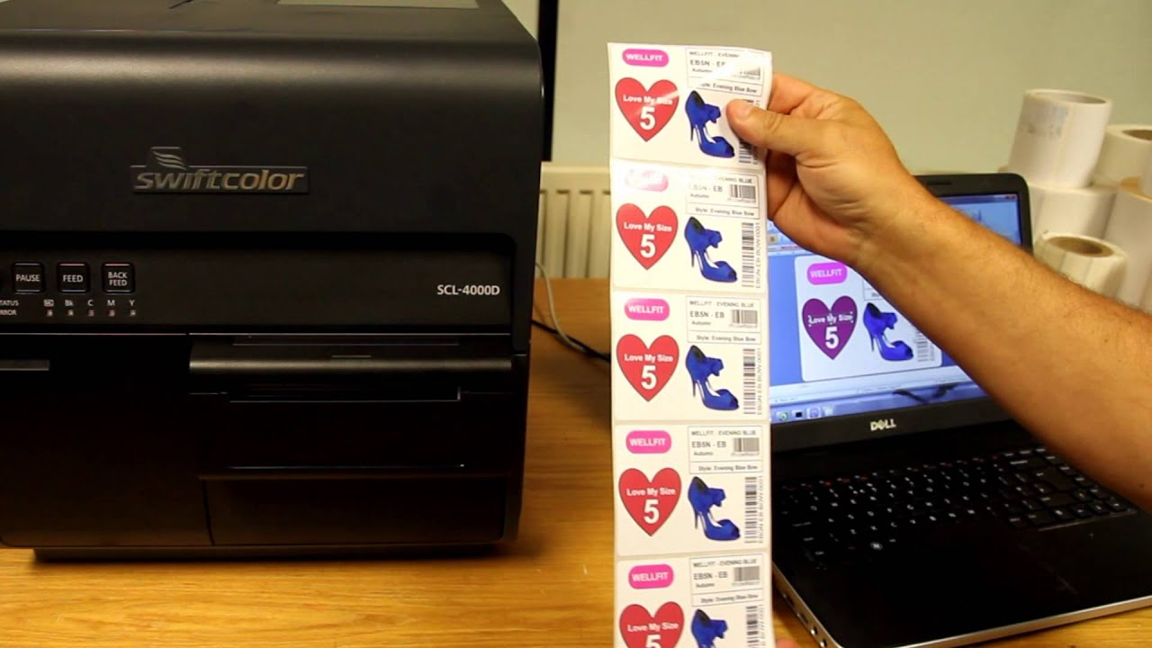 Color printer label - Swiftcolor Scl 4000d Colour Label Printer And Auto Cutter For Shelf Edge Tags Ktec Group Uk