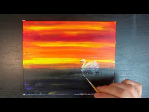 Swan Painting/Using Acrylic Colours/Colourful and Relaxing/Daily Art/ day#024 365 days 4K Video