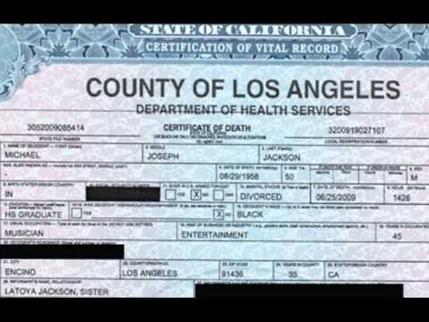 Michael Jackson - Death Certificate