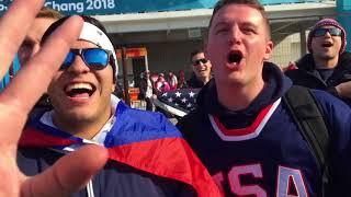 Олимпийский Димвник. Перед хоккеем - русские, американцы, корейцы.
