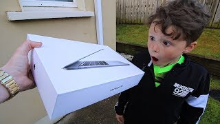 Surprising Little Brother with NEW Macbook!!