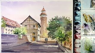 Watercolor Painting  : Morning at the Nuremberg Castle