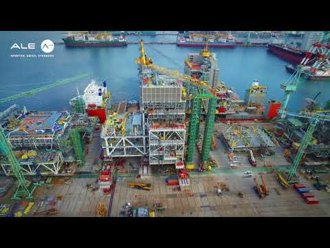 Load-out of two modules, Martin Linge project, South Korea