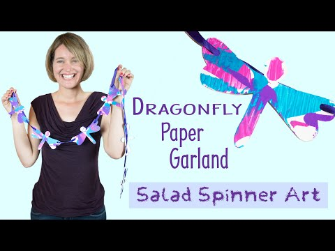 Dragonfly Paper Garland | Salad Spinner Art | Spin Art | Crafts for Kids