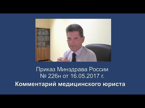 Приказ Минздрава России от 16 мая 2017 года N 226н