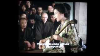 Song starts at 0:48 Film about a travelling goze, or blind shamisen...