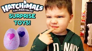 2 YEAR OLD CALEB Reviews Toys! Opens HATCHIMALS Surprise Eggs