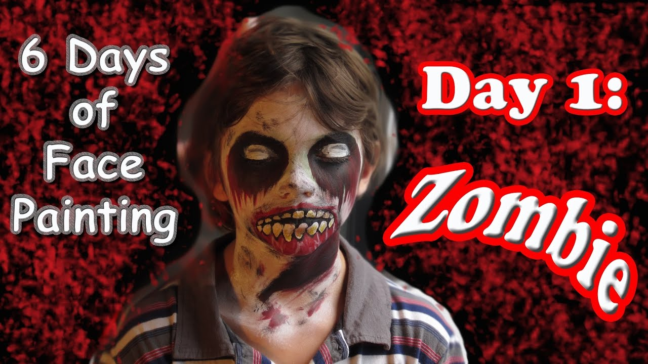 Halloween zombie face painting tutorial day 1 youtube for 1 day paint