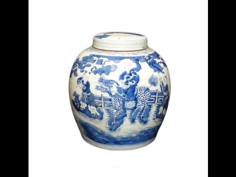 Pair Blue and White General Vase / Ginger Jar With Foo Dog w450 from YouTube · Duration:  47 seconds