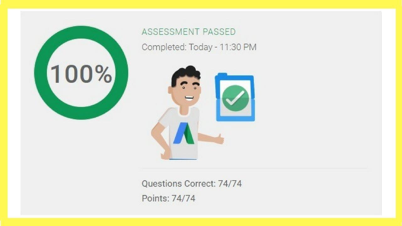 Google AdWords Video Certification Advertising Assessment Exam ...