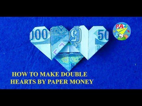 Money Origami|Hướng Dẫn Gấp Trái Tim đôi Bằng Tiền Giấy