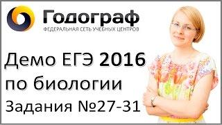 Демо ЕГЭ по биологии 2016 года. Задания 27-31