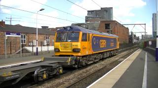 GBRF liveried euro class 92 032 passes Deansgate 19/07/13