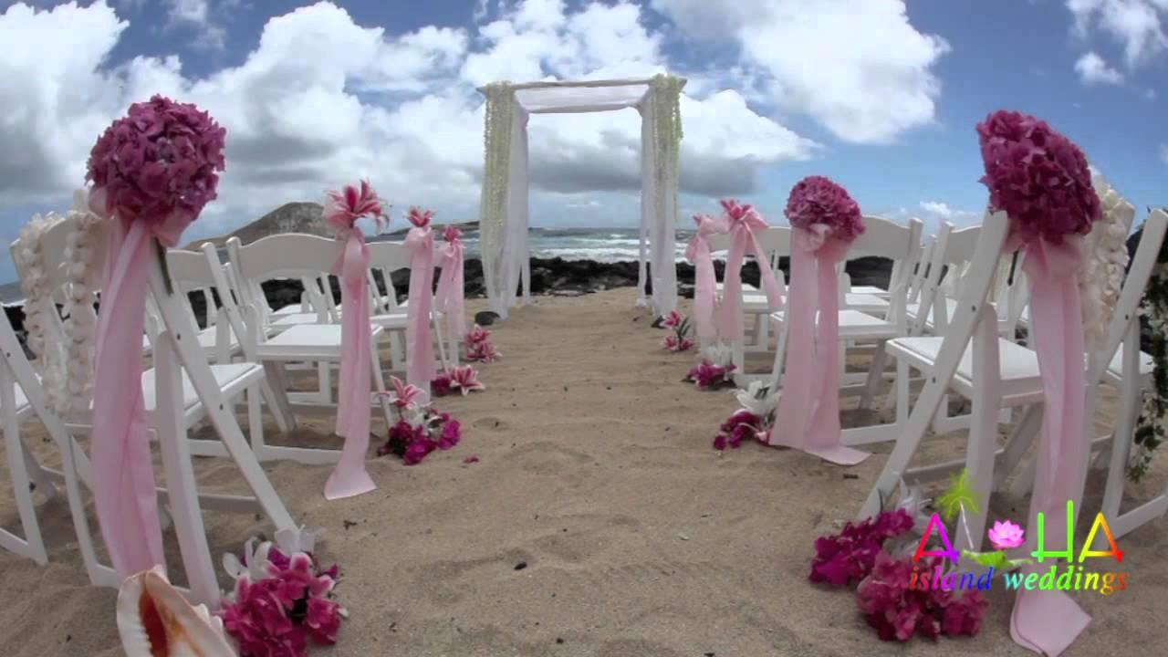hawaii wedding white trellis bamboo gazebo arch - YouTube