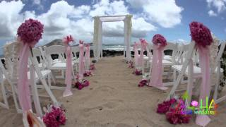 Hawaii Wedding White Trellis Bamboo Gazebo Arch