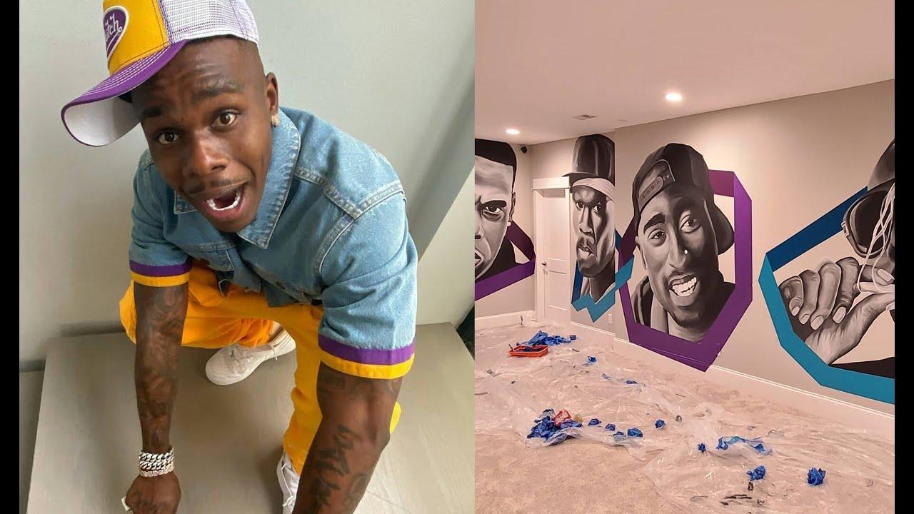 DaBaby Paints Murals Of All His Favorite Legends In His Studio