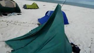 Strong wind, broken tents, massive destruction. Heaps of fun