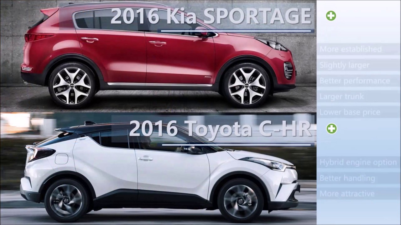 Cx 3 Vs Hrv >> 2016 Kia SPORTAGE vs 2016 Toyota C-HR comparison - YouTube