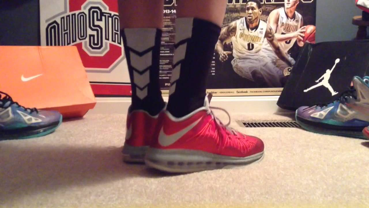 on sale 8638d 68424 Lebron 10 low university red on feet
