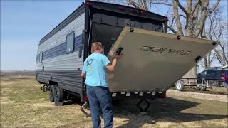 Loading the paramotor in the toy hauler...it fits!